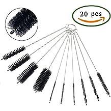 Anpatio Cepillo de Limpieza 20pcs Nylon cepillos de Botella Cepillo Tubo Espiral para Limpiar Teclado Máquinas