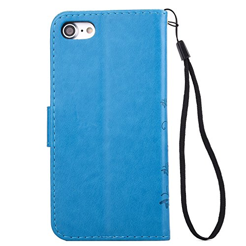 Custodia iPhone 6 Plus, iPhone 6S Plus Cover Wallet, SainCat Custodia in Pelle Flip Cover per iPhone 6/6S Plus, Bling Glitter Strass Diamante Ultra Sottile Anti-Scratch Book Style Custodia Morbida Cov Blu #2