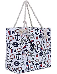 Bolsa de playa grande con cremallera 58 x 38 x 18 cm diseño marítimo shopper bolsa de hombro estilo de yate (yacht style)