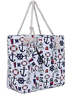 Große Strandtasche mit Reißverschluss 58 x 38 x 18 cm maritimes Design Shopper Schultertasche Yacht Style