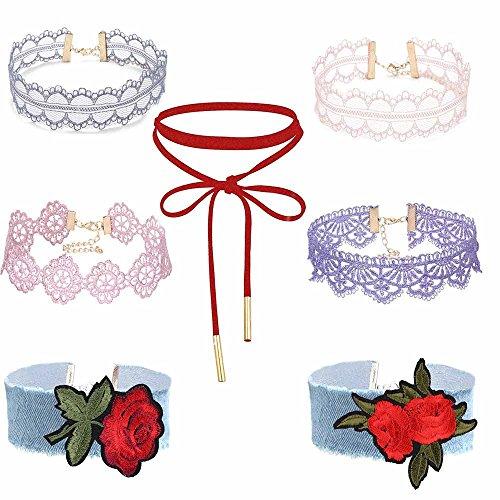 MingJun 7 PCS Frauen Handgefertigte rote Blume Gothic Tattoo Vintage Spitze verstellbare Kragen Choker Rote Samt Elastische Halskette Set für Mädchen 90er Jahre -