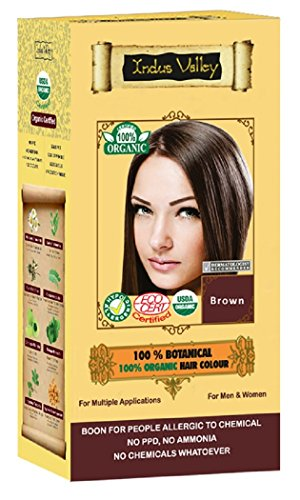 100% Organic 100% Botanical Natural Herbal Haarfärbemittel Braun für Männer und Frauen 100% frei von Chemikalien, kein PPD, kein Ammoniak, kein Peroxid und keine Schwermetalle (Brown)