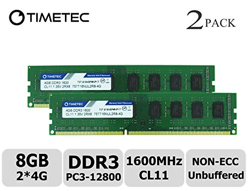 Timetec Hynix IC 8GB Kit (2x4GB) DDR3L 1600MHz PC3-12800 Unbuffered Non-ECC 1.35V CL11 2Rx8 Dual Rank 240 Pin UDIMM Desktop Arbeitsspeicher Module Upgrade (8GB Kit (2x4GB))