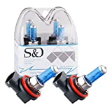 S&D H11 55W 12V Car Headlight Lamp Halogen Light Super Bright Fog Xenon Bulb White (Pack of 2)