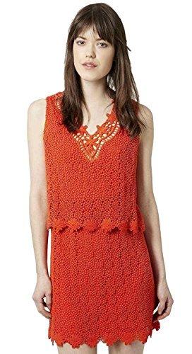 Topshop donna arancione senza maniche rivestimento uncinetto vestito taglie 6-14 - arancione, 8