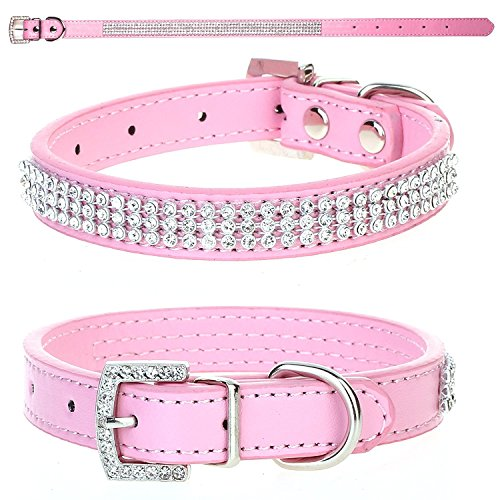 CellDeal Dog Cat Pet Puppy Collar Luxury Diamante Band Rhinestone Crystal Bling PU Leather 10 Colors 3 Size (pink, Small(diameter 8-11cm))