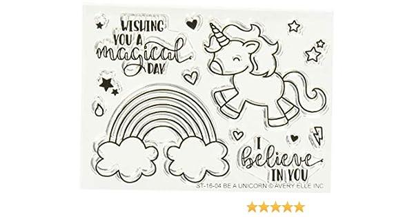 Rosa e principali magici unicorni con timbri trasparenti in acrilico, 4/x 15