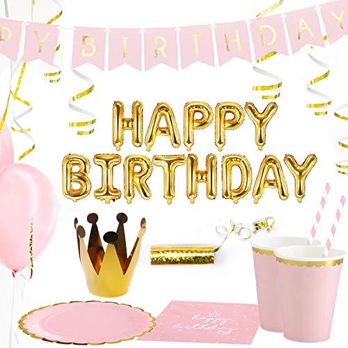 Dekoguru® Produktset (für 18 Personen) in rosé Gold / rosa (Happy Birthday + Krone)