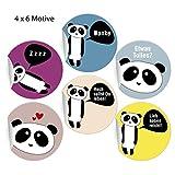 24 kunterbunte Panda Aufkleber mit verschiedenen Sprüchen, MATTE Papieraufkleber für Geschenke, Etiketten für Tischdeko, Pakete, Briefe und mehr (ø 45mm