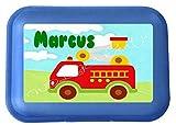 wolga-kreativ Brotdose Lunchbox mit Name Feuerwehr und Wunschmotiv mit Trennsteg Viele Motive