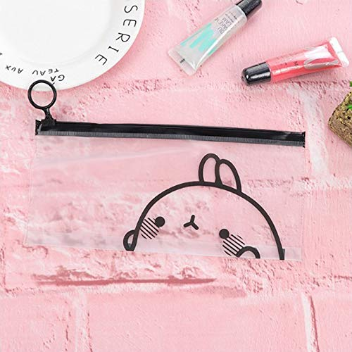 Pencil Cases - 1pc Cosmetic Pouch Pocket Makeup Bag Cute Rabbit Sheer Pvc Pencil Pen Case - Capacity School Boys Roll Aesthetic Holding Stripes Japanese Rose Favors Target Clear Long Easthill C (Roll Cosmetic)