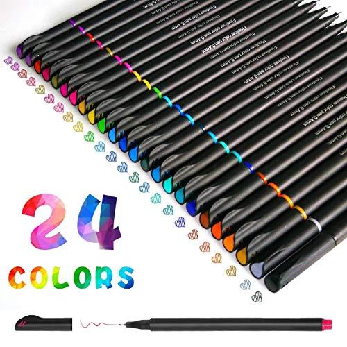 Penne Fineliner, Set di Penne Fineliner a Colori Funnasting Penne per Bozzetti Scrittura Disegno per Bullet Journal Appunti e Libri da Colorare - 24 Colori Assortiti