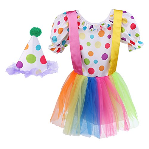 Mit Clown Tutu Kostüm - Sharplace Polka Clown Kostüm Kinder Clownkostüm mit Hut Clownskostüm Kleid Faschingskostüm Kindergeburtstag Tutu Zirkus Narrenkostüm Kinderkostüme - M