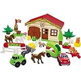 Reiterhof mit Pferden und Fahrzeugen 29 x 20 cm • Bauernhof Pferde Spiele Kleinkind Spielzeug Steck Bausteine Bauklötze