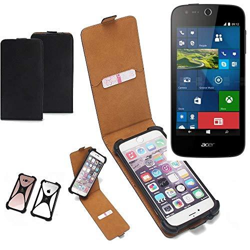 K-S-Trade Flipstyle Case für ACER Liquid M330 Schutzhülle Handy Schutz Hülle Tasche Handytasche Handyhülle + integrierter Bumper Kameraschutz, schwarz (1x)