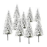 10 Stück dunkelgrüne Landschaft Landschaftsmodell Zedernbäume (10cm, Weiße)