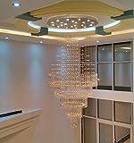 Linie-Kristall-Kronleuchter GU10 Hall Kronleuchter Wohnzimmer Lampe Lights in der Empfangshalle Treppenhaus Kronleuchter kreativen Architektenpersönlichkeit Villa Runde duplex lange Hängeleuchten können installiert werden LED-Lampen , Diameter 90*180CM