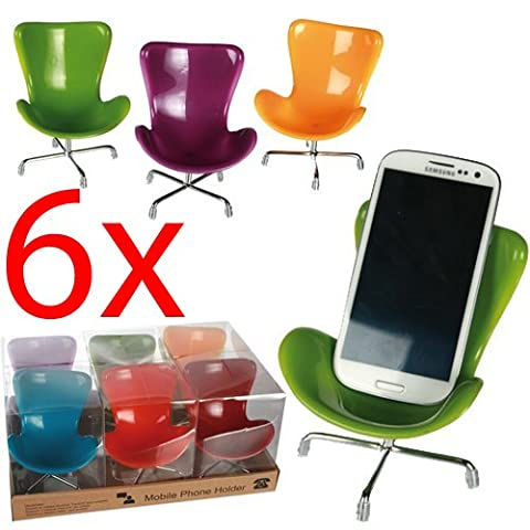 6 X MOBILE PHONE HOLDER CHAIR NOVELTY GIFT UNIVERSAL IPHONE SAMSUNG STAND HOME