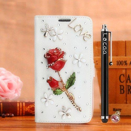 Locaa(TM) Pour Apple IPhone 7 Plus IPhone7+ (5.5 inch) 3D Bling Rose Case Coque Fait Love Cuir Qualité Housse Chocs Étui Couverture Protection Cover Shell Phone Nous [Rose 1] Blanc - Rose Bleu Blanc - Rose Rouge