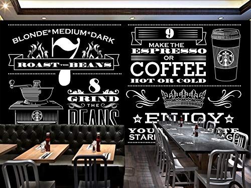 Murale Carta da parati semplice in bianco e nero Starbucks Coffee Shop Tv divano sfondo muro Home Decor personalizzato di qualsiasi dimensione