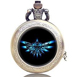 Caja con reloj de bolsillo con logo de Legend Of Zelda Triforce, bronce antiguo, grabado, cuarzo