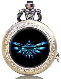 Reloj de bolsillo con mecanismo de cuarzo y cadena con logotipo de Legend of Zelda Triforce, efecto de bronce antiguo,caja de regalo con pila de repuesto