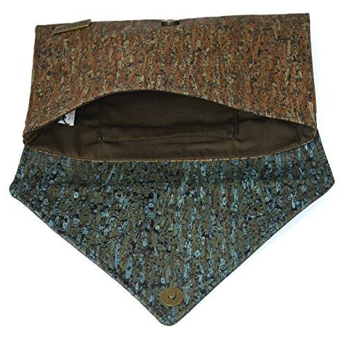 CorkLane Damen Handtasche Kork Abendtasche Envelope Clutch Korkleder vegan aus Portugal Braun und Türkis-Blau - 3