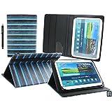 Emartbuy® Teclast X98 Plus II 9.7 Zoll Tablet Universalbereich ( 10 - 11 Zoll ) Jahrgang Streifen Blau Multi Angle Exekutiv Folio Mappen Kasten Abdeckung mit Kartensteckplätze + Eingabestift