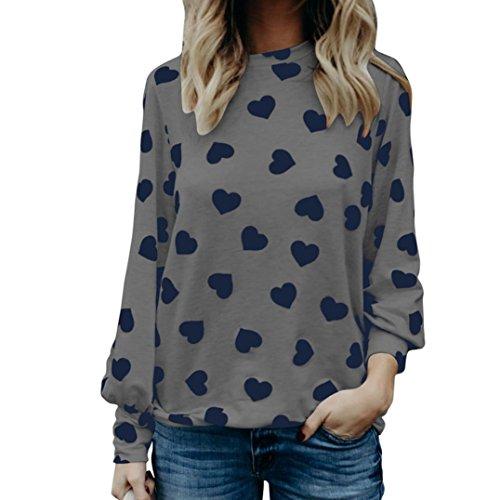 Langarm Shirt CLOOM Casual Oberteile Damen Bluse Blusenshirt Oversized Abend Streetwear Damenmode Long Sleeve Tops Tunic Liebe Herz Gedruckt Shirt Valentine's Day Blusen (Grau, 2XL) (Valentine Mantel)