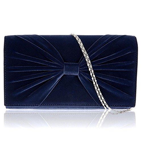 Zarla da donna in finta pelle scamosciata, con fiocco da sera-Borsetta da ragazza a tracolla, pochette Blu (Blu)