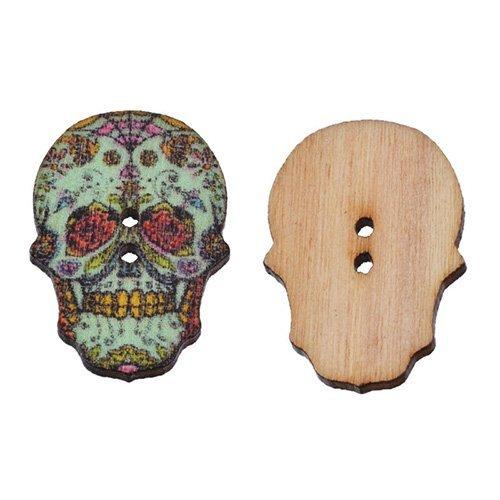 S 2-Loch Knöpfe aus Holz Gemischt Totenkopf Skelett Scrapbooking Nähen DIY Handarbeiten ¡ï ¡ï, Holz, 1# ()
