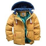 OMSLIFE Winterjacke für Kinder Jungen Mädchen Verdickte Daunenjacken Mantel Trenchcoat Outerwear mit Kapuzen (100cm-110cm, gelb)
