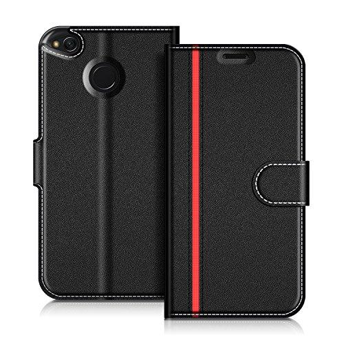 COODIO Handyhülle für Xiaomi Redmi 4X Handy Hülle, Xiaomi Redmi 4X Hülle Leder Handytasche für Xiaomi Redmi 4X Klapphülle Tasche, Schwarz/Rot