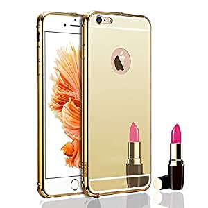 Droit Luxury Metal Bumper + Acrylic Mirror Back Cover Case For Apple5G Gold + Flexible Portable Thumb OK Stand by Droit Store.