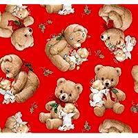 Fat Quarter Natale Cherubini Angeli e orsetto rosso cotone tessuto