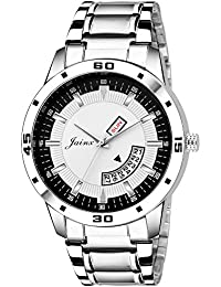 Jainx Silver Day And Date Analog Watch For Men & Boys - JM309