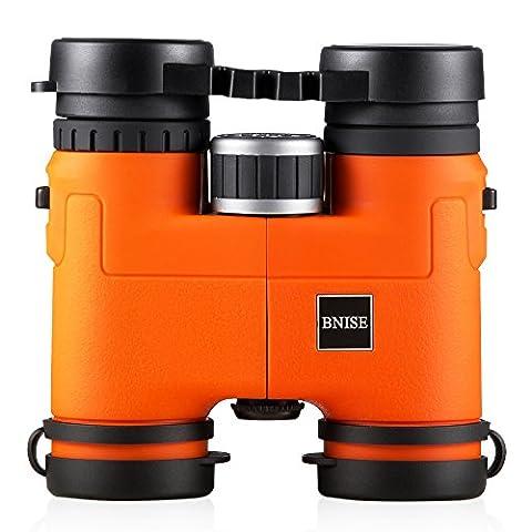 BNISE® - 8x32 Compact et léger Jumelles Binoculars- Boîtier en alliage de Magnésium - Entièrement Multi-enduit Optique et Phase Coated BaK-4 Prismes - Lumineux et Image non déformée - Orange