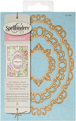 (Unbekannt Spellbinders Nestabilities Label 33Dekorative Elemente, Braun)