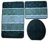 Orion Badgarnitur 3 tlg. Set 60x100 cm Grün WC Vorleger ohne Ausschnitt geprüft nach OEKO-TEX Standard 100