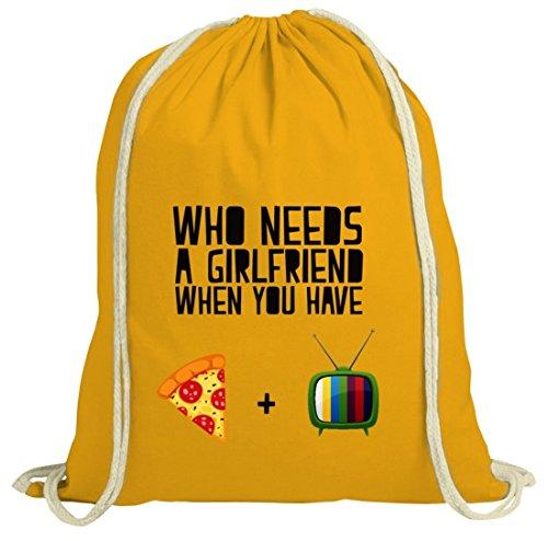 Valentinstag natur Turnbeutel mit Who Needs A Girlfriend Motiv von ShirtStreet gelb natur