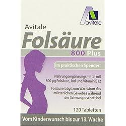 Avitale Folsäure 800 plus mit Vitamin B12 und Jod, 120 Tabletten im Klickspender, 1er Pack (1 x 7,8g)