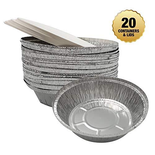 volila Alu Backformen, große Einweg Rundformen aus Aluminiumfolie, recyclebare Kuchenformen mit Deckel (20 Stück) (23 cm) -