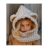 L&Z Winter-warme Coif Hauben-Schal-Kappen-Hut Ear Flap Gestrickte Wolleschal-Kappen-Hüte für Baby scherzt Mädchen-Jungen Winter Beanie Mützen