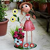 #6: Wonderland Girl With Pot 22 Inches Tall & Flowers In Hand Big Planter