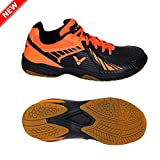 Victor AS-33 Unisex Black Orange Badminton Shoes (UK 6.5)