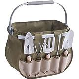 Zeller 16002 Ensemble d'Outils de jardinage avec panier en polyester/métal/bois, 38 x 23 x 32 cm, 6 pièces