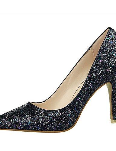 WSS 2016 Chaussures Femme-Décontracté-Noir / Rose / Violet / Blanc / Argent / Corail-Gros Talon-Talons-Talons-Laine synthétique silver-us6.5-7 / eu37 / uk4.5-5 / cn37