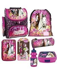 74c1b94d5662c Pferd Pony Horses 10 Teile Set Schulranzen RANZEN FEDERMAPPE mit Sticker  von Kids4shop Tasche TORNISTER