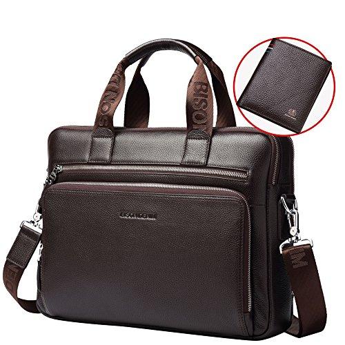 BISON DENIM Herren klassische Leder Aktenkoffer Laptop Schulter Messenger Bag Business Tote (Coffee[2PCS]/N4457) (Leder Tasche Coffee)