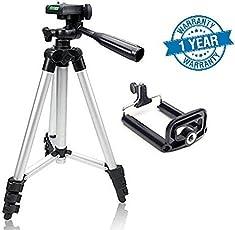 Cellularplatform 105cm 3110 Long Metal Camera Tripod for Mobiles & Action Cameras Having 3-Way Pan & Tilt (with Free Attachments)
